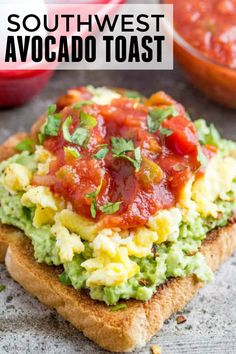 Perfect for breakfast, lunch or dinner this Southwest Avocado Toast has a eggs, avocado and salsa kicking it up a notch with every bite! #eggs #salsa #avocado #healthy #easyrecipe #recipe #healthyeating
