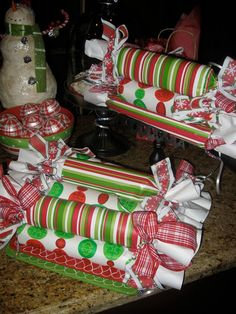 cover paper towel tubes and use for grinch party decorations (original idea is cookie dough tubes for neighbors)