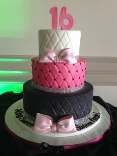 Pink, white, and black. Perfect colors for a Sweet Sixteen!