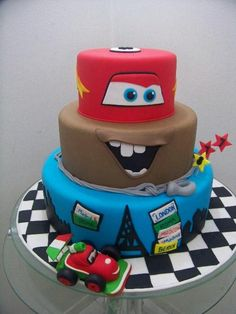 Cars Cake  @Helia Whitaker this is pretty much it I think! maybe the bottom layer could be finn mcmissile?
