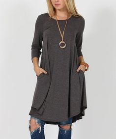 Side to side on a swing, this smooth dress has a bit of sashay. Slip your hands in the side pockets of this light, effortless casualwear, and you make your day look and feel like a breeze.