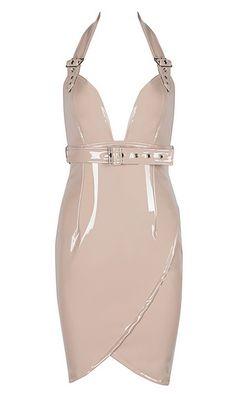 Never Surrender PU Faux Leather Sleeveless Buckle Halter Neck Tulip Backless Bodycon Mini Dress - 3 Colors Available Latex Lady, Strappy Heels, Halter Neck, Hunters, Tulip, Indie, Backless, Bodycon Dress, Spandex