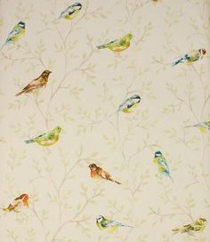 A stylish fabric depicting garden birds. This contemporary curtain fabric is made from a cotton/linen mix. Can also be used for blinds and cushions. Buy this fabric online or from one of our fabric shops in Burford and Cheltenham. Fabric Birds, Fabric Ribbon, Cool Fabric, Lounge Curtains, Curtains With Blinds, Contemporary Fabric, Contemporary Garden, Curtain Material, Curtain Fabric