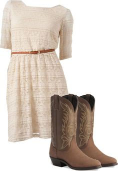"""Lace Dress with Cowboy Boots"" by mustangxaddict on Polyvore"