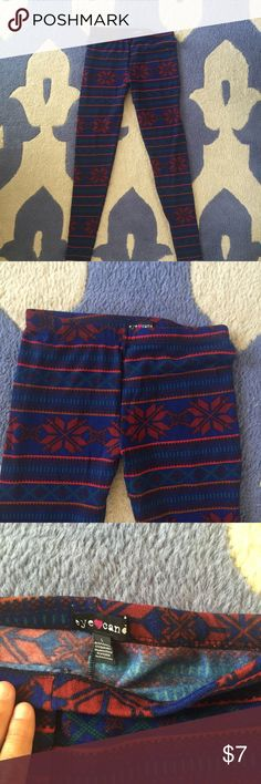 Flannel leggings Very warm flannel leggings with bright winter design. Eye candy brand. Never worn. Says large but fits more like a medium. Eye candy  Pants Leggings