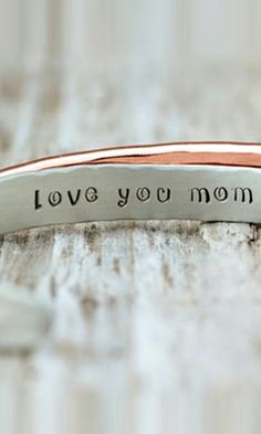 Amy Waltz Designs - Gift For Mom / Personalized Bracelet / Silver Copper / Love You Mom / Hammered