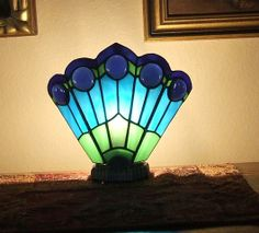 Peacock Fan Lamp - Delphi Stained Glass