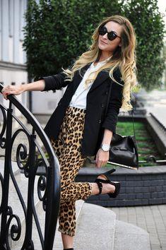 Cheetah b black dress slacks