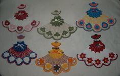 6 Crochet Doily Girl Pattern Lot- Heart, Poinsettia, Shamrock, July 4th, Leaf, Easter Egg