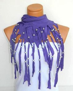 Latest Fashion Lilac scarf Fringed and beaded by WomanStyleStore, $23.90