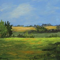 The Back Forty 6 x  6 Original Landscape Painting by TorrieSmiley, $35.00