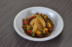 Chicken black pepper with baked potatoes