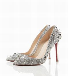 piękne, srebrne, zdobione buty ślubne na szpilce, beautiful wedding shoes!