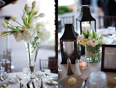 I LOVE the simple arrangements w/ white tulips & white hydrangea.  Wow. Is it tall enough?