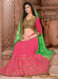 Green Pink Embroidery Work Georgette Jacquard Designer Sarees http://www.angelnx.com/Sarees/Party-Wear-Sarees