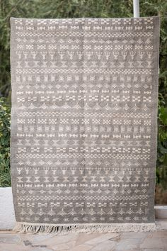 This is a Tunisian Vintage Style Handwoven Margoum Kilim Rug, made with natural wool in berber style. Showcasing berber white ethnic diagrams on a medium shade of Grey and a medium raw surface finishing. Pastel Grey, Berber Rug, Kilim Rugs, Grey And White, Baby Room, Hand Weaving, Area Rugs, Interiors, Wool