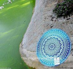 Ombre Round Mandal Beach Throw Roundie Yoga Mat Table Cloth hippie boho gypsy.. #Handmade