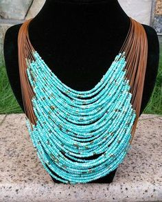 A perfect way to make any outfit pop. Tribal Jewelry, Turquoise Jewelry, Beaded Jewelry, Jewelry Necklaces, Crystal Jewelry, Jewelry Art, Silver Jewelry, Beaded Statement Necklace, Cute Necklace