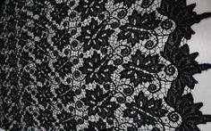 Черный ажур с рисунком (ширина 130 см)