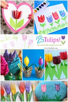 Tulip crafts for kids. Tulips Art projects for kids. From tulip painting to paper tulips. These spring crafts are perfect for kids as young as preschool! Spring Art Projects, Spring Crafts For Kids, Easy Art Projects, Craft Projects For Kids, Crafts For Kids To Make, Arts And Crafts Projects, Art For Kids, Craft Ideas, Kids Diy