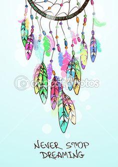 Ilustración colorido étnico con atrapasueños indios americanos