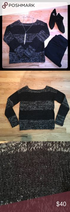 Loft black & cream sweater In perfect condition!  This sweater has sequins here and there to give just a little sparkle that works for day or night!  Wear with leggings, ankle boots and a cami to complete your look! LOFT Sweaters Crew & Scoop Necks