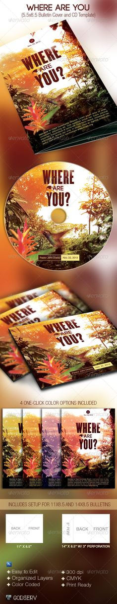 Where Are You Church Bulletin Cover #CD Template - #Miscellaneous Print Templates Download here: https://graphicriver.net/item/where-are-you-church-bulletin-cover-cd-template/3069031?ref=alena994