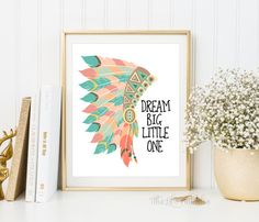 ❣ Please check our announcements tab for coupon codes! ❣ Dream Big Little One Native American Headdress Printable ❥ No physical item will be