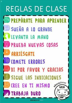 Sign with the class rules, rules of the classroom to get a good tone for learning and help regulate interactions between students. Bilingual Classroom, Bilingual Education, Classroom Rules, Flipped Classroom, Spanish Classroom, Classroom Organization, Classroom Management, Spanish Teacher, Teaching Spanish