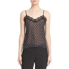 Women's The Kooples Lace Trim Polka Dot Camisole (285 SGD) ❤ liked on Polyvore featuring intimates, camis, black, lace camis, sheer camisole, polka dot camisole, sheer cami and lace camisole