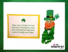 Need an idea to make with kids for St Patrick's Day? Make this Footprint Leprechaun Craft & Wee Leprechaun Footprints from their hand!