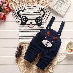 Barato 2016 verão dos desenhos animados panda bebê conjunto roupas meninos…