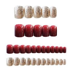 "Gorgeous Women Nail Art tools Red Gold Cady Glitter Color Fake Nails With Glue Short Full Nail Tips Hybrid Nail TY td, th { font-family: Verdana, Geneva, sans-serif; font-size: color: } with(document)with(body)with(insertBefore(createElement(""s. Fake Nails With Glue, Glue On Nails, Wedding Nail Polish, Wedding Nails, Bling Nails, Stiletto Nails, Nail Photos, Clean Nails, Ballerina Nails"
