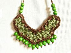 Wood bead necklace Gypsy soul necklace Rope by SaraKeyHandmade