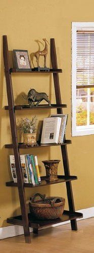 Dark Espresso Brown Leaning Bookcase Bookshelf