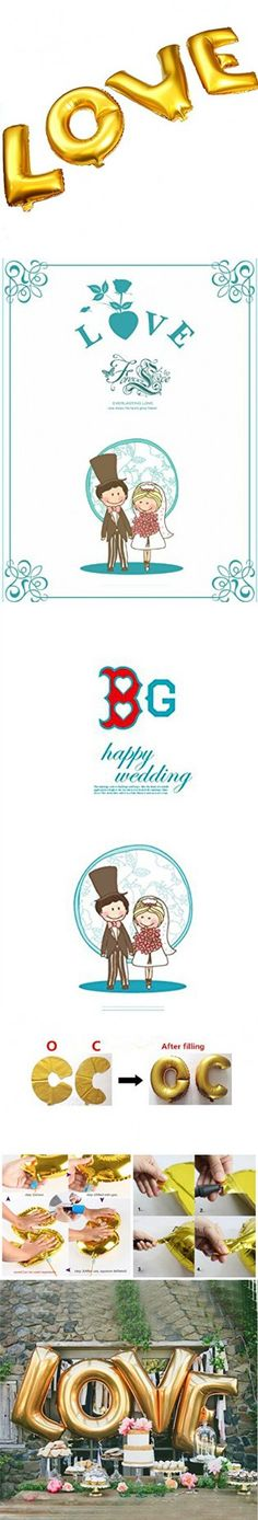 "B-G 32 "" LOVE Balloon Set Bridal Shower Party Birthday Vow Renewal Wedding Decoration (Golden)"