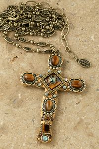 Tiger's Eye Cross Pendant - Beautiful Cross Pendant featuring the silky luster of Tiger eye. Tiger Eye Jewelry, Peridot And Amethyst, Cross Jewelry, Cross Necklaces, Vintage Jewelry, Unique Jewelry, Religious Jewelry, Gold Cross, Metal Chain