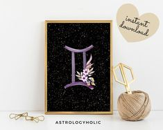 Gemini Zodiac Printable, Astrology Wall Art, Star Sign, Birthday gift, Floral Print, Constellation, Digital Download Gemini Zodiac, Astrology Zodiac, International Paper Sizes, Constellations, Birthday Gifts, Floral Prints, Printables, Colours, Sign