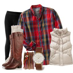 Long Sleeve Flannel Shirt. Dark Wash Jeans. Navy Blue or Cream Vest. Cognac Boots. Cognac Band Watch.