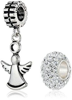 SALE PRICE $23.2 - CHARMED BEADS Sterling Silver Guardian Angel and Crystal Bead Charm Set