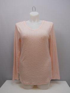 SIZE XXL Women Brushed Knit Top NO BOUNDARIES Long Sleeves Solid Pink V-Neck #NoBoundaries #KnitTop #Casual