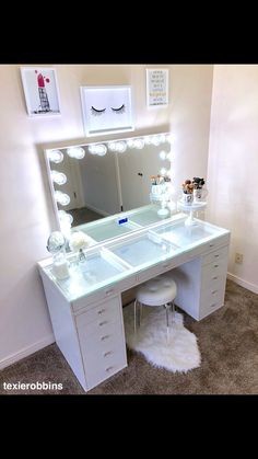 27 Ideas For Makeup Vanity Makeover Diy Closet Makeovers Cute Room Ideas, Cute Room Decor, Teen Room Decor, Makeup Beauty Room, Makeup Room Decor, Vanity Makeup Rooms, Vanity Room, Makeup Vanity Tables, Vanity Ideas