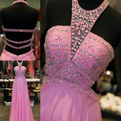 2k16 Pink Prom Dresses With Criss Cross Straps And Halter Neck Real Photos Beading Crystals Chiffon Long Prom Gowns Custom Made Uk Prom Dress Unusual Prom Dresses From Nicedressonline, $140.63  Dhgate.Com