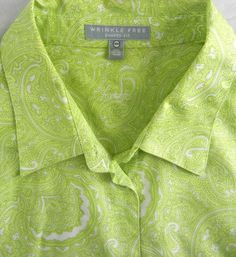 29.99$  Buy now - http://viuly.justgood.pw/vig/item.php?t=7wpqgb1427 - FOXCROFT Wrinkle Free Shaped Fit Career Shirt Top 18W Green Paisley Print Cotton 29.99$