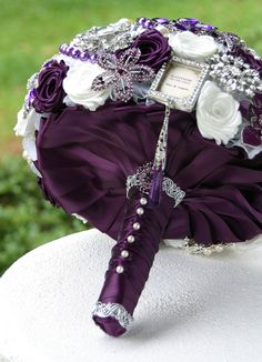 Purple Wedding Brooch Bouquet. Deposit on a made to order Bridal Heirloom Broach Bouquet.