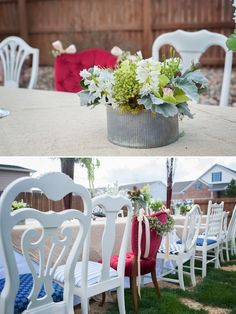 transportation + travel themed baby shower inspiration on COUTUREcolorado Baby | by Jamie Smith Photography and Sarah Viera Event Planning and Design | vintage mis-matched antique white mixed chairs with a tufted red velvet guest of honor chair | succulent centerpiece in a galvanized tin bucket | baby shower or party or wedding or event seating ideas