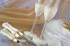 IVORY /GOLD cake knife and server  & wedding glasses / LACE