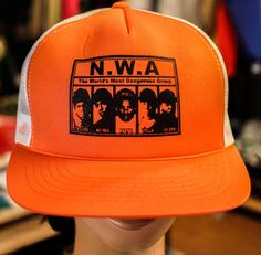 buy online 19e49 87f6a Dre ice cube hip hop los angeles trucker snapback hat Orange by  OfficialsVintage on Etsy. Officials Vintage