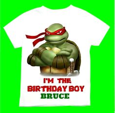 Raphael the Ninja turtle Birthday Boy T-shirt Personalized 1st 2nd 3rd 4th 5th 6th  Personalization is included at no additional cost. by FantasyKidsDesigns on Etsy https://www.etsy.com/listing/206461380/raphael-the-ninja-turtle-birthday-boy-t