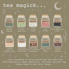 For the tea loving witch 🔮🖤🍵 . Witch Spell Book, Witchcraft Spell Books, Green Witchcraft, Witchcraft Herbs, Jar Spells, Magic Spells, Wiccan Spells, Healing Spells, Witchcraft For Beginners